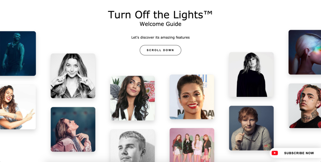 Welcome Guide of the Turn Off the Lights browser extension