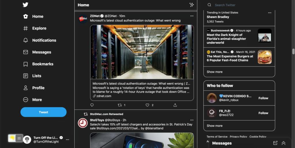 Twitter Темный режим с функцией ночного режима в выключенном расширении браузера
