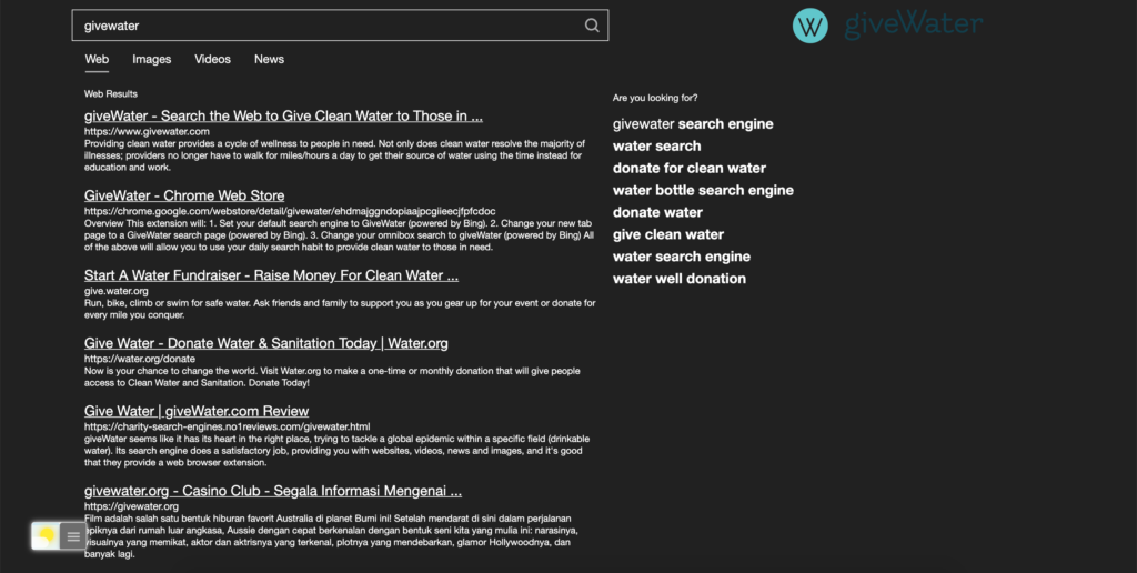 GiveWater Dark Mode activated with the free Turn Off the Lights browser extension