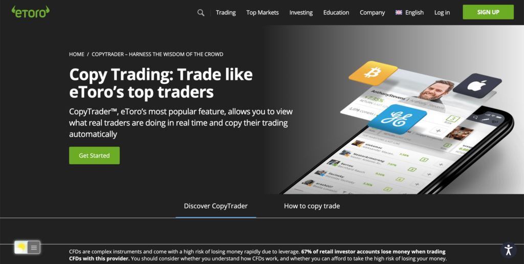 Etoro Dark Mode web site with the free Turn Off the Lights browser extension