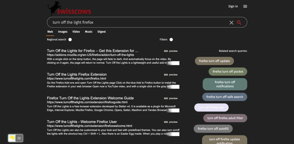 Swisscows Dark Mode website thanks to the Night Mode feature in the Turn Off the Lights browser extension