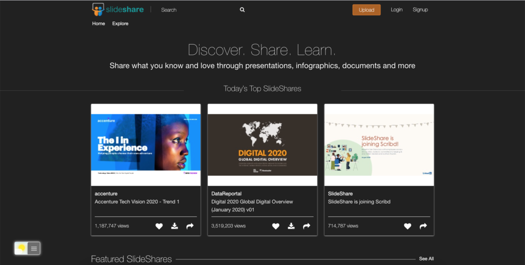 Slideshare Dark Mode website thanks to the Night Mode feature in the Turn Off the Lights browser extension