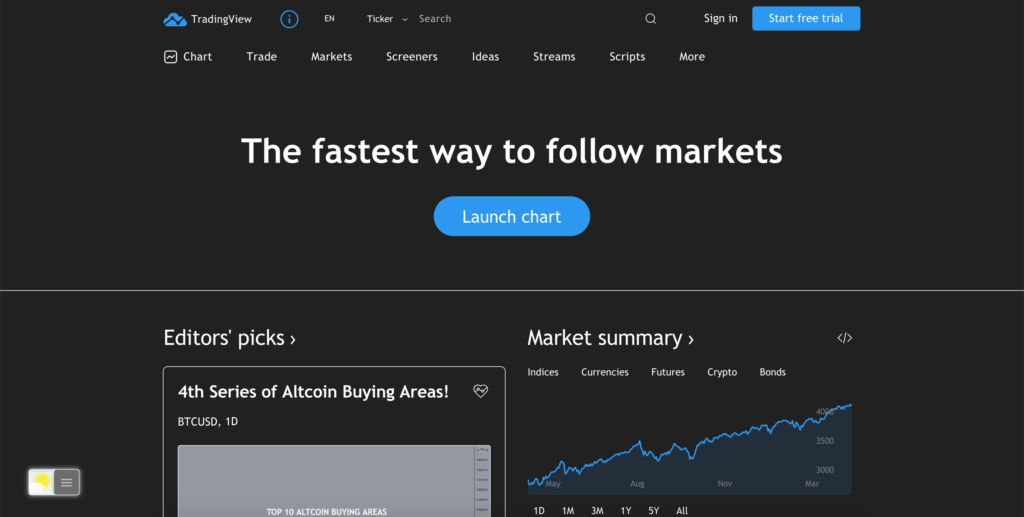 TradingView Dark Mode website with the free Night Mode feature in the Turn Off the Lights browser extension