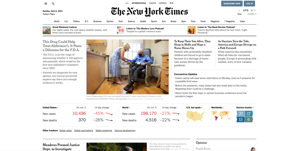 Regular NYT Times website in Google Chrome web browser