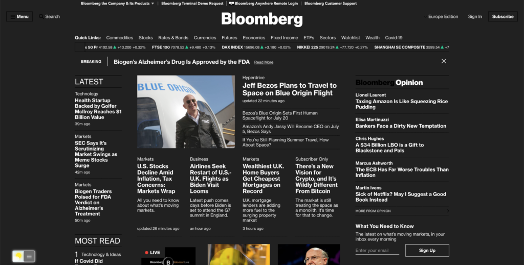 Bloomberg Dark mode with the free Turn Off the Lights browser extension