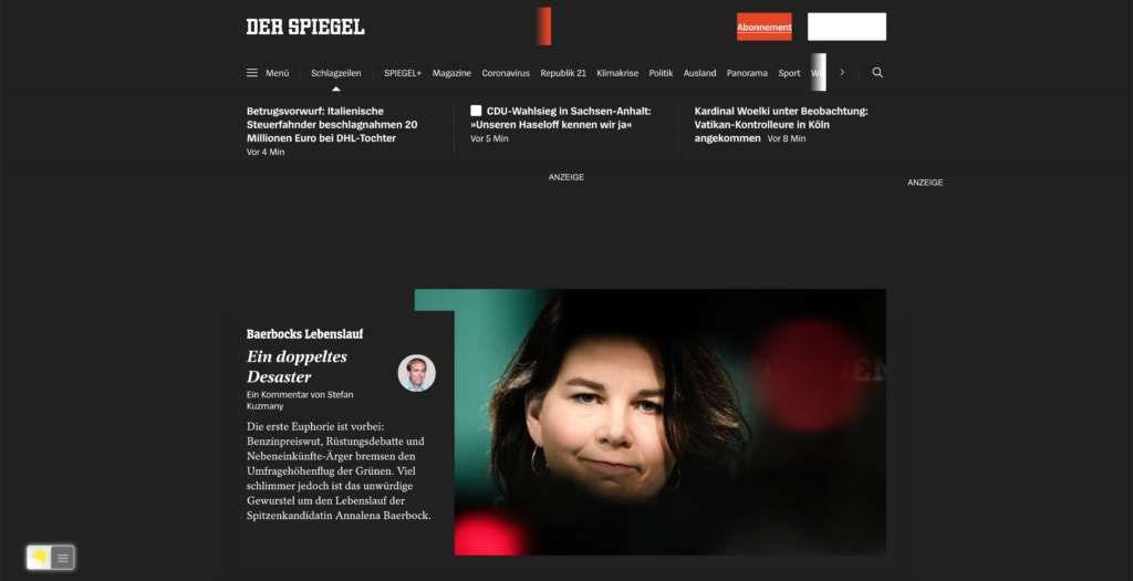 Spiegel Dark Mode website with the free Turn Off the Lights browser extension