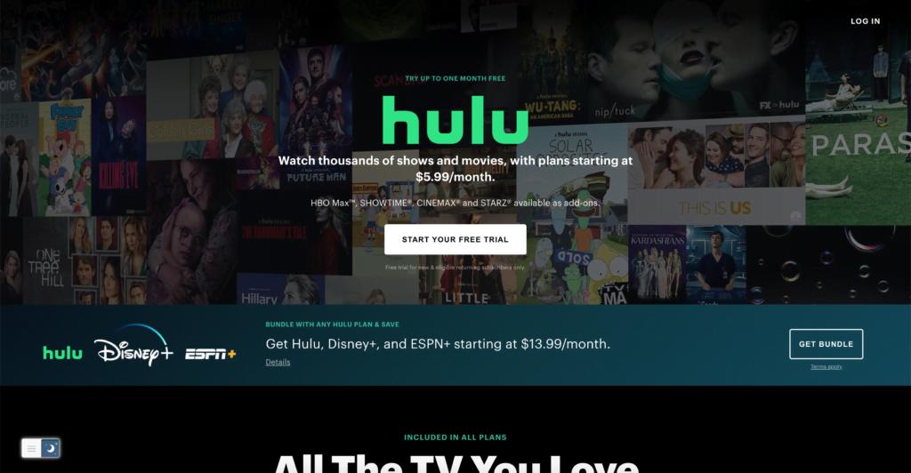 Hulu website with a Hulu Dark Mode website style