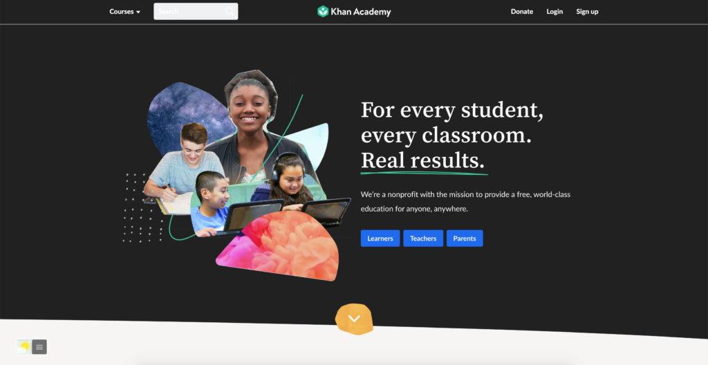 Khan Academy Dark Mode with the free Turn Off the Lights browser extension